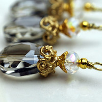Pale Gray Grey Smoke Faceted Flat Oval and Czech Crystal Pendant Bead Dangle Charm Drop Set