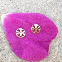 Tory Burch Stud Earrings Signature Logo Cutouts in Gold Reinvented Jewelry