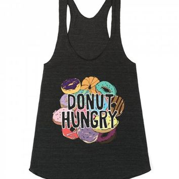 Donut Hungry-Unisex Athletic Tri Black Tank