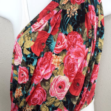 Stunning Floral Knit Fabric Nursing Scarf Womens Fashion Convertible Infinity Scarf Pink Roses Nursing Sling or Nursing Blanket