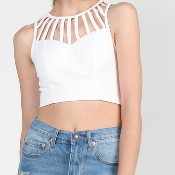 Caged In Crop Top - White