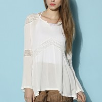Breezy Flared Cutout Crepe Top