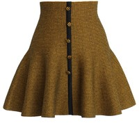 Buttons Up Knitted Skater Skirt in Yellow