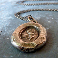 Cupid Wax Seal Necklace. Antiqued Fine Silver Angel Jewelry. Cherub Necklace