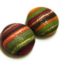Button Earrings Colorful Stripes Gold Festive Holiday Fall