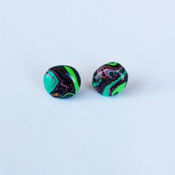 Psychedelic Galaxy Polymer Clay Stud Earrings