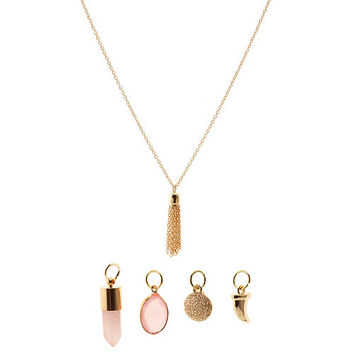 Boho Mixed Charm Necklace by Charlotte Russe - Gold