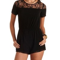 Short Sleeve Lace-Trim Romper by Charlotte Russe - Black