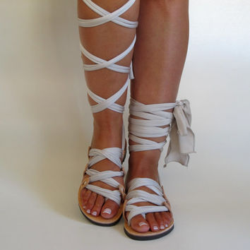 "Customizable Lace up sandals, Ribbon Strap sandals, Choose scarf laces from 18 colors and leather footbed from 6 colors  ""ATHENA"" ATHS07"
