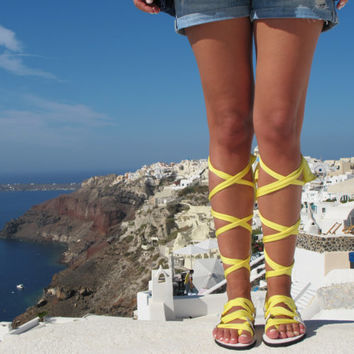 "Lace up sandals, Customizable, Choose scarf laces from 18 colors and leather footbed from 6 colors  ""ATHENA"" ATHS15"