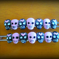 Cute and Spooky Pink Hearts and Skulls Hair Barrette
