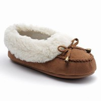 Chaps Flat-Sole Moccasin Slippers