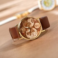 Promithi Women Mens Hours Clock Point Wrist Watch With Continental Map (brown)