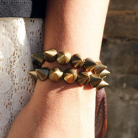 Spikes Bracelet Studs  Arm Candy Grunge Rocker Hipster Bronze Bronze Bohemian Hand Jewelry