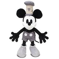Hard to Find Oversized Vintage Style Black and White Steamboat Willie 18 Inch Plush Doll New with Tags