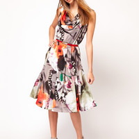 Full Circle Floral Drape Neck Belted Dress at asos.com