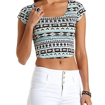 Geometric Print Crop Top with Caged Back - Light Turquoise Combo