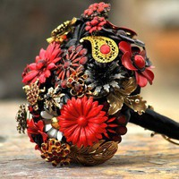 Wedding Bridal Brooch Bouquet Black Red Gold by LionsgateDesigns