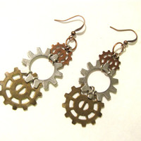 Long Dangle Earrings from Gears Steampunk Style Handmade