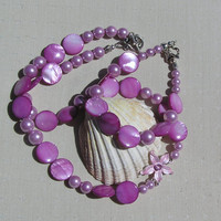 """Necklace & Bracelet Set - Freshwater Pearl and Mother of Pearl """"Pink Sunrise"""""""