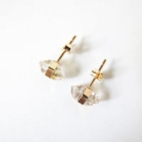 Better Late Than Never Herkimer Diamond Studs - 14K