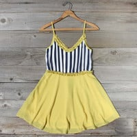 Awning Stripe Dress in Yellow, Sweet Women&#x27;s Country Clothing
