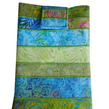 Tablet Sleeve Padded in Teal and Green Batik Fabrics