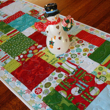Christmas Quilted Table Runner Quilt - Whimsical Snowmen and Snowflake Prints