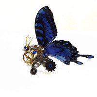 Steampunk ring, butterfly ring, blue ring, silver steampunk, filigree ring, boho ring,  OOAK, magic ring, watch gear ring