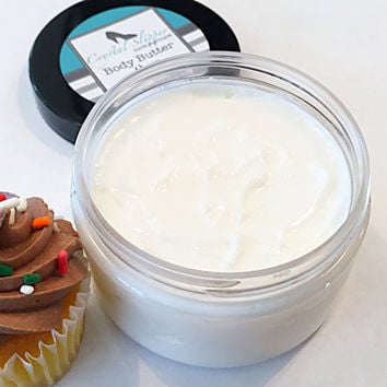 Body Butter (vegan) CHOCOLATE CUPCAKE- Body Cream- shea butter- cocoa butter- moisturizer- body lotion- paraben free- bath and body