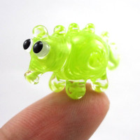 Lime Green Creature Lampworked Glass Miniature by MercuryGlass