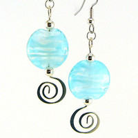 Blizzard Lampworked Glass Bead Earrings by MercuryGlass on Etsy