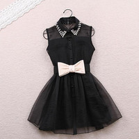 Dress with Pearl Diamond and Bowtie in Black