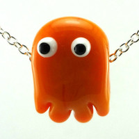 Orange Ghost Lampworked Glass Bead Necklace by MercuryGlass