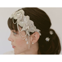 Rhinestone 1920s cloche - Bridal beaded headband 830
