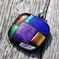 Patchwork Dichroic Fused Glass Pendant Colorful Handmade Jewelry