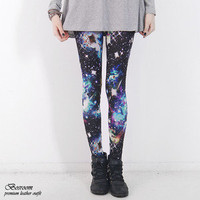 Women milkyway space lightning galaxy graphic leggings pants shorts tights S-L