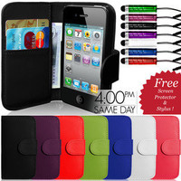 FLIP WALLET LEATHER CASE COVER &amp; SCREEN PROTECTOR &amp; STYLUS FOR APPLE IPHONE 4 4S