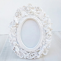 White Cherub Rose Design Easel Back Ornate Frame - Shabby Chic