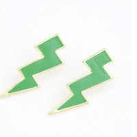 Trendy Big Green Lightning Statement Stud Earrings wholesale
