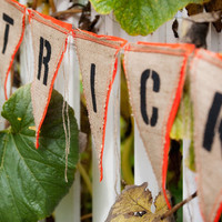 Upcycled TRICK OR TREAT Burlap Banner (with orange felt backing) - Eco-Friendly Halloween Decoration