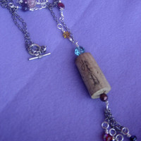 Necklace with a wine cork. Recycled cork necklace. Multicolor large necklace. Fun necklace. Cocktail necklace. All day neacklace.
