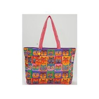 Laurel Burch Shoulder Tote Zipper Top, Cat Masks $31.03