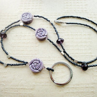 purple ceramic rose lanyard, deep amethyst, purple crystal, silver hearts, beaded, mother gift, February birthday