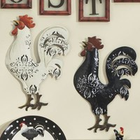 2-Piece Tin Rooster Wall Art from Through the Country Door
