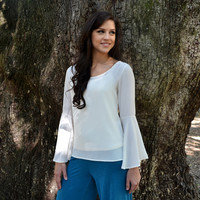 Jacqueline Bell Sleeve Top - Ivory