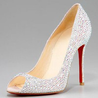Christian Louboutin Crystal Encrusted Suede Pump - &amp;#36;198.00