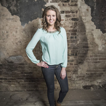 Mint Blouse with Chain Neckline