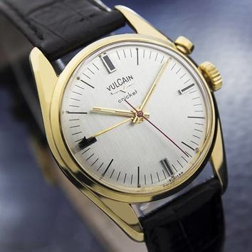 Mens Vintage Swiss Vulcain Cricket Alarm Dress Watch, Gold-Plated Manual #954