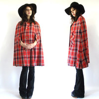 Vintage 60s 70s Plaid Cape